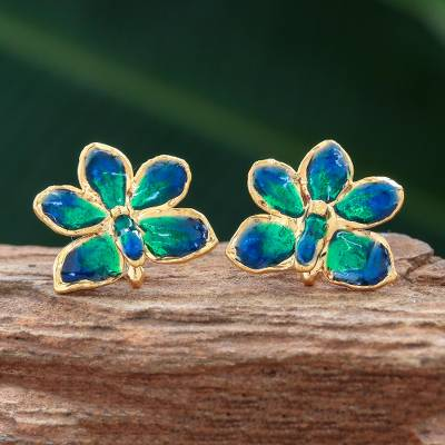 Natural orchid gold-plated flower earrings, 'Aqua Perfection' - Natural orchid gold-plated flower earrings