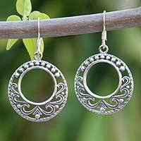 Sterling silver dangle earrings, 'Dream Catcher' - Fair Trade Sterling Silver Dangle Earrings