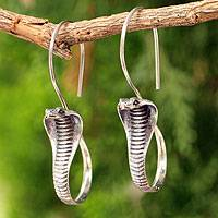 Sterling silver drop earrings, 'Cobra Guardian' - Silver Hanging Serpent Earrings