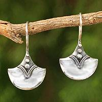 Sterling silver drop earrings, 'Modern Romantic'