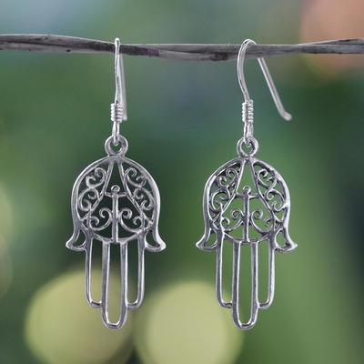 Sterling silver dangle earrings, 'Chimes' - Hand Made Sterling Silver Dangle Earrings