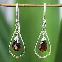 Garnet dangle earrings, 'Precious' - Sterling Silver and Garnet Dangle Earrings