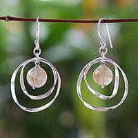 Rutile quartz dangle earrings, 'Sun' - Hand Made Sterling Silver and Quartz Earrings