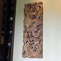 Teak relief panel Himmapan Legend Thailand
