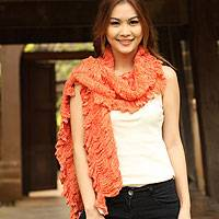 Cotton scarf, 'Wild Orange' - Handmade Cotton Scarf