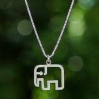 Sterling silver pendant necklace, 'Elephant Line'