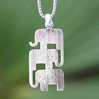 Sterling silver pendant necklace, 'Elephant Stack' - Sterling Silver Elephant Trio Necklace from Thailand
