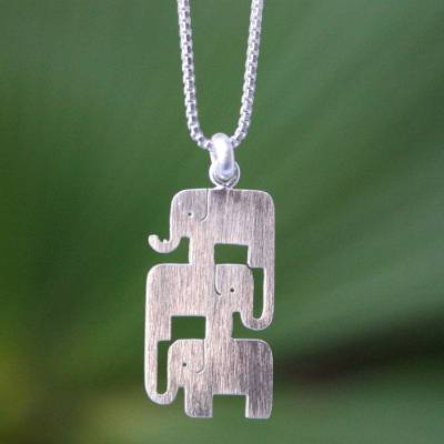 Sterling silver pendant necklace, 'Elephant Stack' - Sterling Silver Pendant Necklace