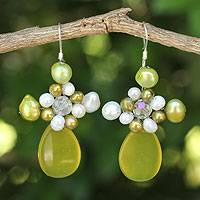 Pearl and serpentine cluster earrings, 'Elixir' - Serpentine and Pearl Dangle Earrings
