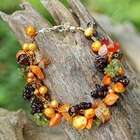 Pearl and peridot beaded bracelet, 'Precious Fruit' - Handmade Beaded Multigem Bracelet