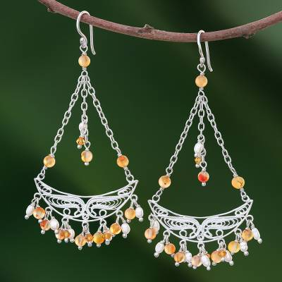 Pearl and carnelian chandelier earrings, 'Timeless' - Unique Sterling Silver and Carnelian Earrings