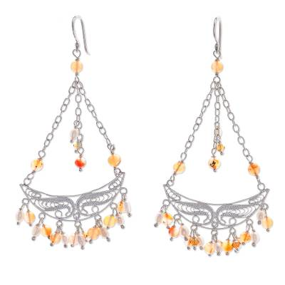 Unique Sterling Silver and Carnelian Earrings