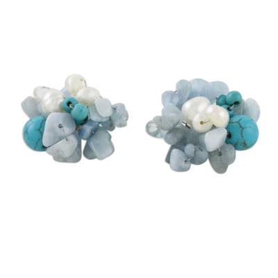 Pearl and aquamarine cluster earrings, 'Sensation' - Handcrafted Aquamarine and Pearl Dangle Earrings