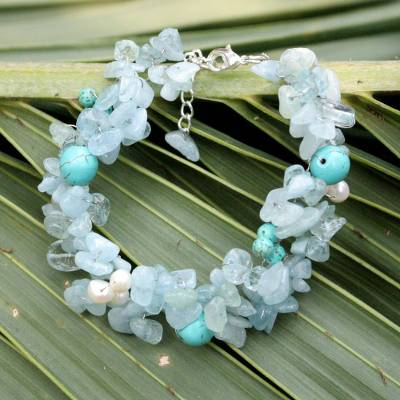 Pearl and aquamarine beaded bracelet, Sensation