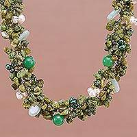 Pearl and peridot choker, 'Lime Sensation' (Thailand)