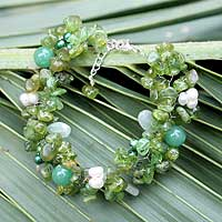 Pearl and peridot beaded bracelet, 'Lime Sensation' - Unique Beaded Peridot Bracelet