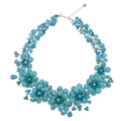 Turquoise Colored Flower Necklace