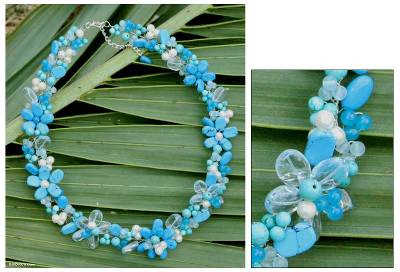 Pearl and quartz beaded necklace, 'Blossoming Blue' - Handcrafted Pearl and Quartz Beaded Necklace