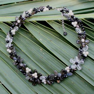 Onyx and smoky quartz choker, 'Shadow Garland' - Onyx and Smoky Quartz Choker