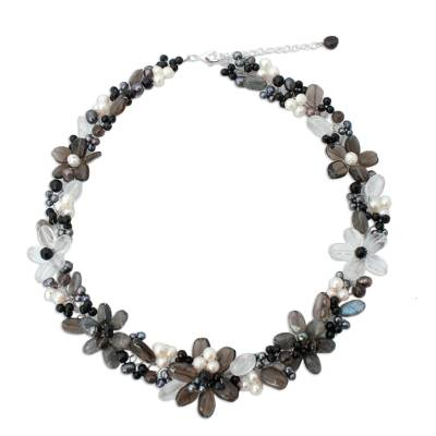 Onyx and Smoky Quartz Choker