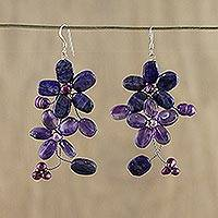 Amethyst and lapis flower earrings, 'Blossoming' - Amethyst and Lapis Lazuli Flower Earrings