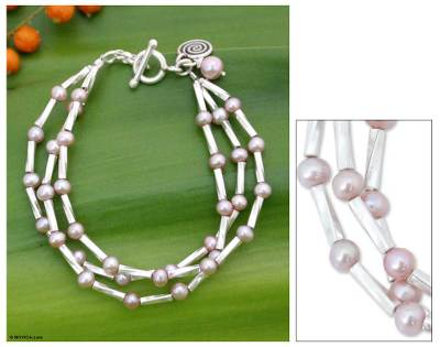 Pearl beaded bracelet, 'Rose Sea' - Pearl beaded bracelet