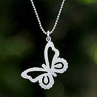 Sterling silver pendant necklace, 'Butterfly' - Sterling Silver Pendant Necklace