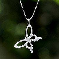 Sterling silver pendant necklace, 'Summer Butterfly' (Thailand)