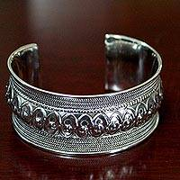 Sterling silver cuff bracelet, 'Hill Tribe Harmony' (Thailand)