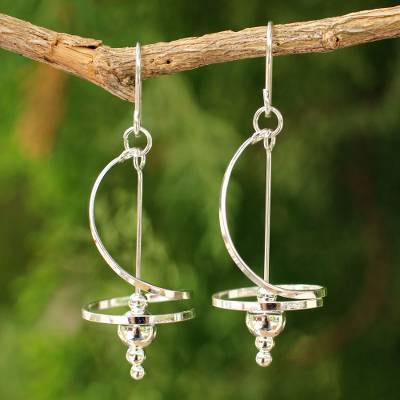 Sterling silver dangle earrings, 'Pirouette' - Fair Trade Modern Sterling Silver Dangle Earrings