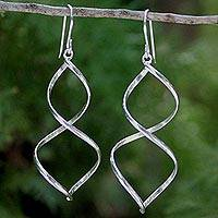 Sterling silver dangle earrings, 'Helix' - Modern Sterling Silver Dangle Earrings