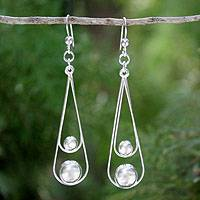 Sterling silver dangle earrings, 'Empathy' - Modern Sterling Silver Dangle Earrings