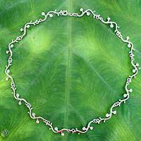 Sterling silver choker, 'Garland' - Fair Trade Floral Sterling Silver Choker Necklace