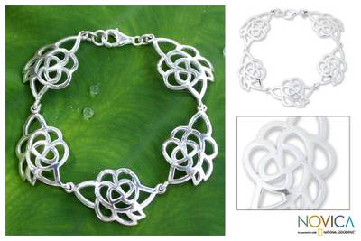 Sterling silver flower bracelet, Roses in Love