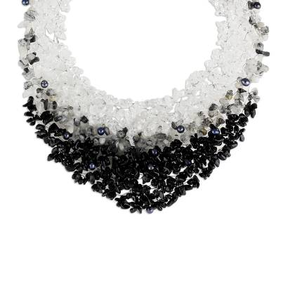 Artisan Crafted Beaded Tourmalinated Quartz Necklace