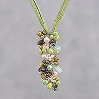 Pearl and smoky quartz pendant necklace, 'Verdant Fascination'