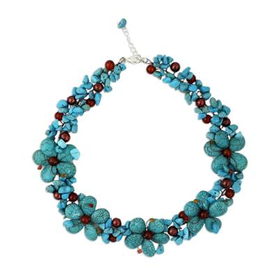 Unique Thai Pearl and Agate Flower Necklace