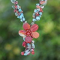 Agate and carnelian Y necklace, 'Summer Flower' - Multigem Beaded Flower y Necklace from Thailand