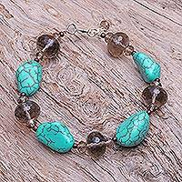 Beaded bracelet, 'Song of the Sky' - Unique Beaded Turquoise Colored Bracelet