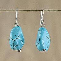 Dangle earrings, 'Song of the Sky' - Turquoise Colored Dangle Earrings