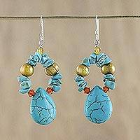 Pearl dangle earrings, 'Maritime Fantasy' - Beaded Turquoise Colored Dangle Earrings