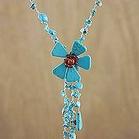 Y necklace, 'Floral Rain' - Hand Crafted Floral Turquoise Colored Necklace