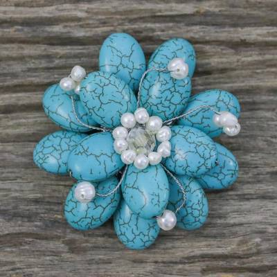 Pearl brooch pin, 'Blue Azalea' - Floral Turquoise Colored Brooch Pin