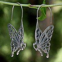 Sterling silver drop earrings, 'Butterfly Kisses' - Handmade Sterling Silver Drop Earrings