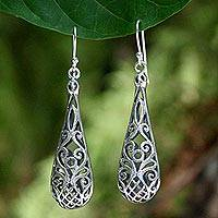 Sterling silver dangle earrings, 'Tropical Pineapple' - Handmade Sterling Silver Dangle Earrings