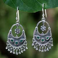 Malachite chandelier earrings, 'Lady of the Forest' - Sterling Silver and Malachite Chandelier Earrings
