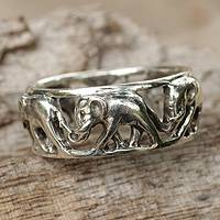 Sterling silver band ring, 'Elephant Walk'