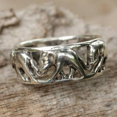 Sterling silver band ring, 'Elephant Walk' - Sterling Silver Elephant Theme Band Ring from Thailand