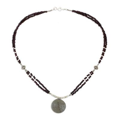 Hand Crafted Fine Silver and Garnet Pendant Necklace