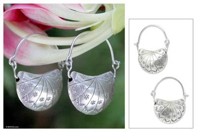 Silver half hoop earrings, 'Ladybug Charm' - Silver half hoop earrings